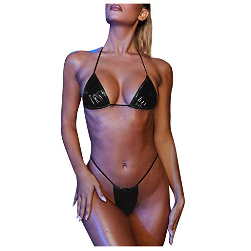 Damen Leder Bikini Set Lackleder Triangel Push Up Neckholder Spaghettiträger C String Frauen Zweiteiliger Bademode mit Bikinihose Strandmode M Schwarz 267060 (Damen Zweiteiliger Bademode mit Slip Se)