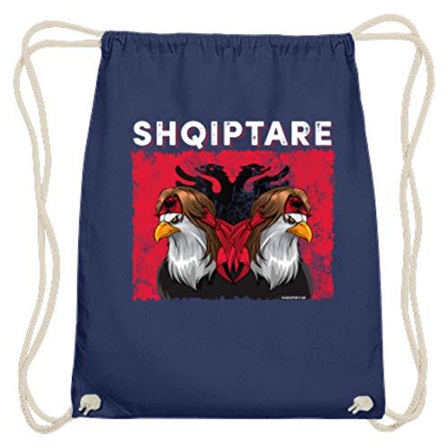 ALBASPIRIT Shqiptare Albaner Wappen Albanischer Adler Albanerin Albanien Flagge - Baumwoll Gymsac -37cm-46cm-Marineblau