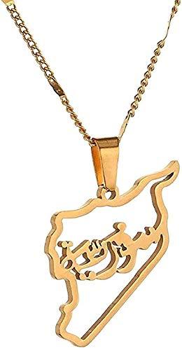 LBBYMX Co.,ltd Collar de Moda de Acero Inoxidable Siria Mapa Colgante Collares Mapa Colgante Collar sirios Encanto joyería