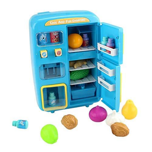 perfeclan Nevera Vendedora de Juguete para Juego de Roles, con Luces y Sonidos, Regalo para Niños - Azul, Los 28.5x13x27.5cm