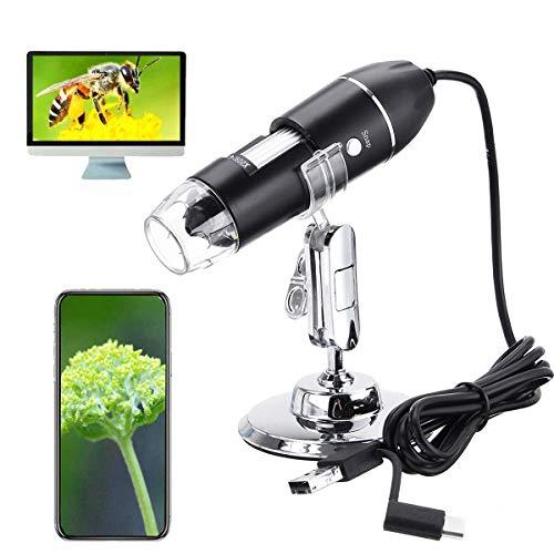 Microscopio digitale USB, micro USB 3 in 1 con ingrandimento 50X-1600X, adattatore OTG e endoscopio con staffa, compatibile con telefono, pad, Samsung Galaxy, Android, Mac, computer Windows