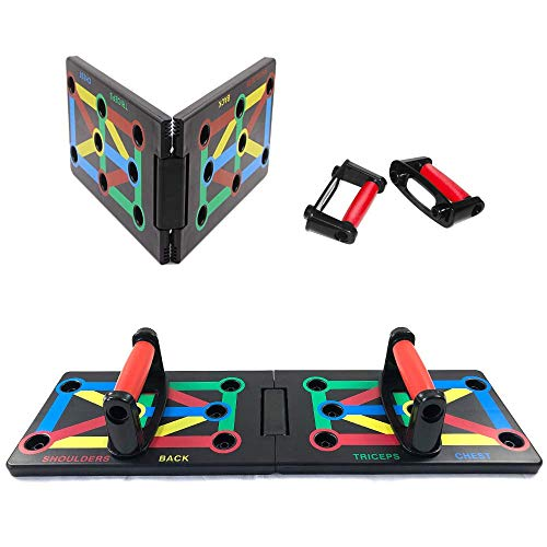 ABEY Foldable Push Up Board with Workout Schedule and Non-Slip Stickers, 12-in-1 Multicolor Training System Body Building Exercise Tools for Men Women Home Fitness Training