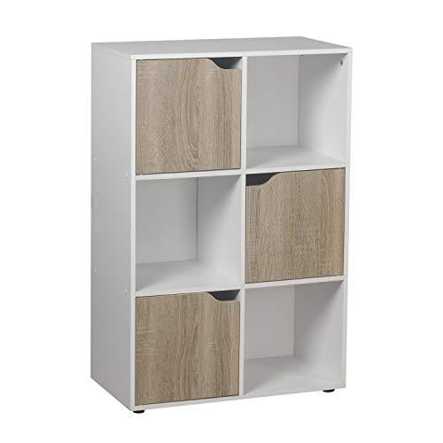 Brigros - Mobile Libreria con 6 cubi 3 Ante, scaffale per Libri scolastici, mensole da appoggio per scrivania Porta Libri cubo componibile Arredamento per Ufficio, cameretta 90x60cm (Bianco)