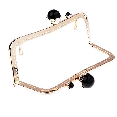 Baoblaze Retro Taschenverschluss Metallbügel mit Klippverschluss Taschenrahmen Taschenbügel zum Einnähen Taschenzubehör - Leicht goldschwarze Perlen