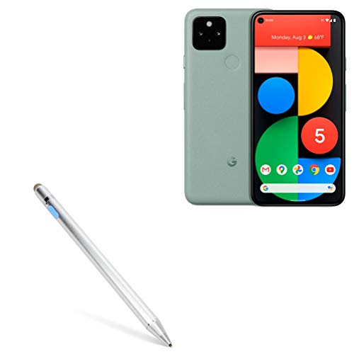 Stylus Pen for Google Pixel 5 (Stylus Pen by BoxWave) - AccuPoint Active Stylus, Electronic Stylus with Ultra Fine Tip for Google Pixel 5 - Metallic Silver