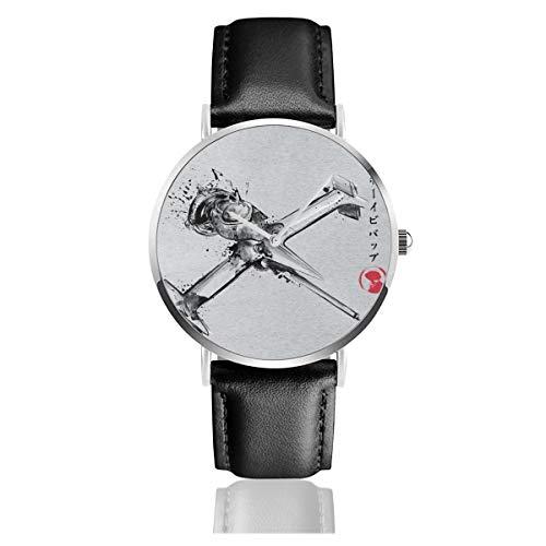 Unisex Business Casual Cowboy Bebop Mono Racer Sumi E Uhren Quarz Leder Armbanduhr mit schwarzem Lederband für Männer und Frauen Young Collection Geschenk