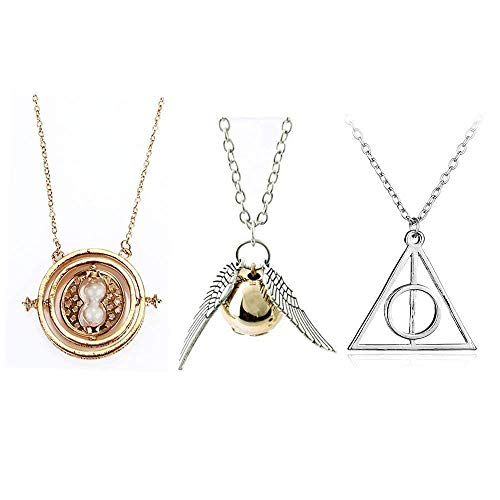 TANSHOP Friendship Necklace Set Jewlery Set for Kids Time Turner Necklace Golden Snitch Necklace Gift Collection (3PC/Set)