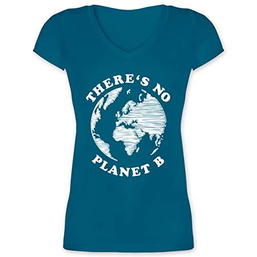 Statement - There is no Planet B - M - Türkis - vegan Tshirt Damen - XO1525 - Damen T-Shirt mit V-Ausschnitt