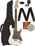 Fender Squier Affinity Stratocaster HSS - Olympic White Bundle with Gig Bag, Tuner, Strap, Picks, and Austin Bazaar Instructional DVD