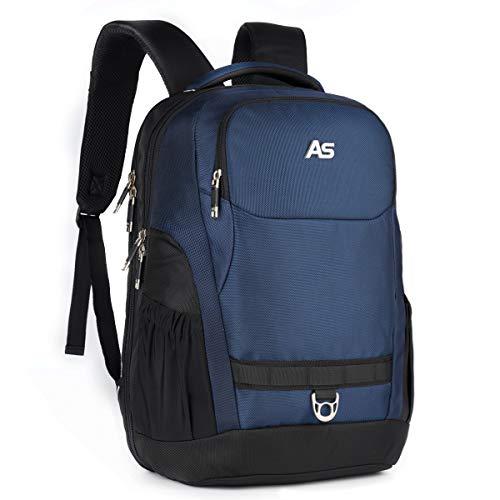 ASPENSPORT Laptop-Rucksäcke für Damen und Herren, wasserabweisend, für 39,62 cm (15,6 Zoll), große Büchertaschen, vollständig offen, langlebige Rucksäcke blau navy