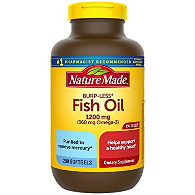 Burp-Less Fish Oil 1200 mg, 200 Softgels, Fish Oil Omega 3 Supplement For Heart Health