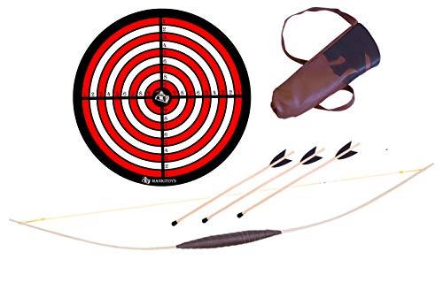 Mankitoys El juego de arco infantil contiene arco infantil de madera de 120 cm con carcaj, 3 flechas con flechas y diana, arco para niños a partir de 5, tiro con arco (arco de 120 cm).