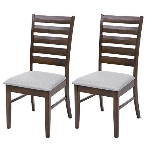 Mendler HWC-G47 - Sedia da sala da pranzo in tessuto e legno massiccio