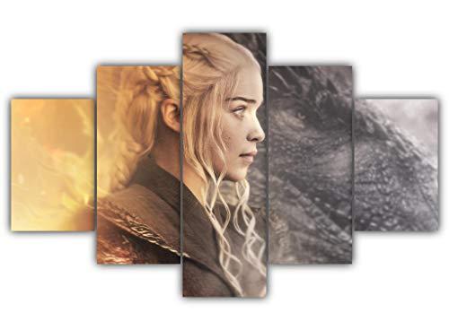 5 Panels Daenerys And Drogon Multi Canvas Art Game Of Thrones Iron Throne Dothraki Rhaegal Viserion Dany Khal Drogo Framed Ready To Hang Wall Poster Piece Print Home Decor