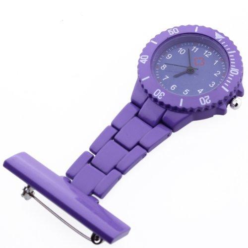 Gleader Reloj Bolsillo Tipo Enfermera Cuarzo Esfera Redondo con Broche Moda Violeta