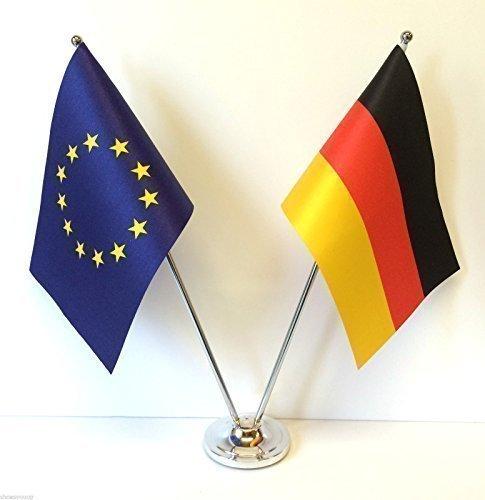 Europäische Union EU & Deutschland Flaggen chrom und Satin Tisch Schreibtisch Flagge Set
