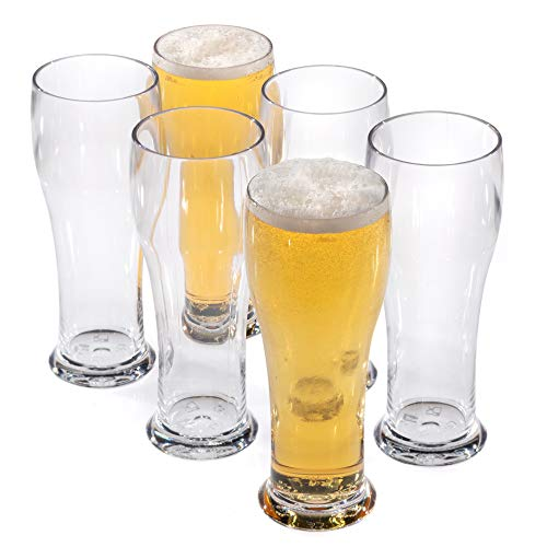 Vasos cerveza originales de plástico reutilizables copas altos policarbonato irrompibles 30cl - Conjunto 6 Piezas