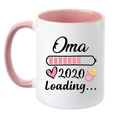 """TassenTicker® \""""Oma Loading 2020\"""" - beidseitig Bedruckt - Kaffeetasse - Geschenk werdende oma - Schwangere - Baby - (Rosa)"""