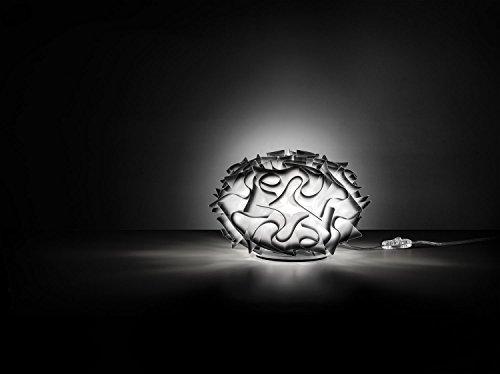 Veli Kunststoff Nachttischleuchte Kleine Tischleuchte Slamp in Weiß/Schwarz | Handgefertigt in Italien | Tischlampe Modern Dimmbar | Lampe E14