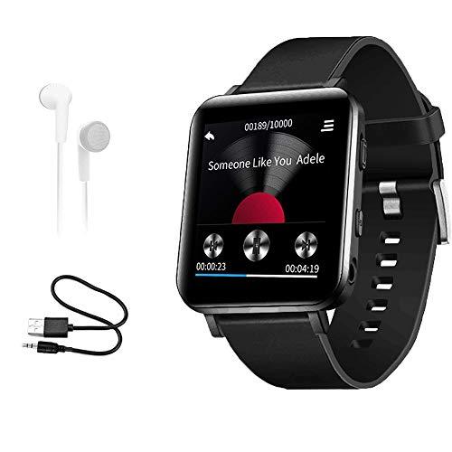 16 GB MP3-Player mit Bluetooth Sportuhr MP3-Player mit Touchscreen HiFi verlustfreier Sound Musik-Player mit Sport-Schrittzähler für Laufen Joggen Workout schwarz