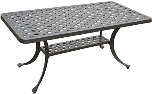 Crosley Furniture Sedona Solid-Cast Aluminum Outdoor Cocktail Table, Black