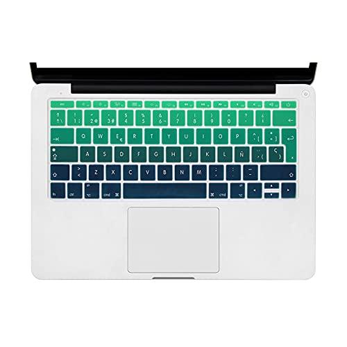 super-super arco iris español teclado cubierta silicona para Mac Pro 13 A1708 (versión 2016, sin barra táctil) para MacBook 12 pulgadas A1534-Ombre verde