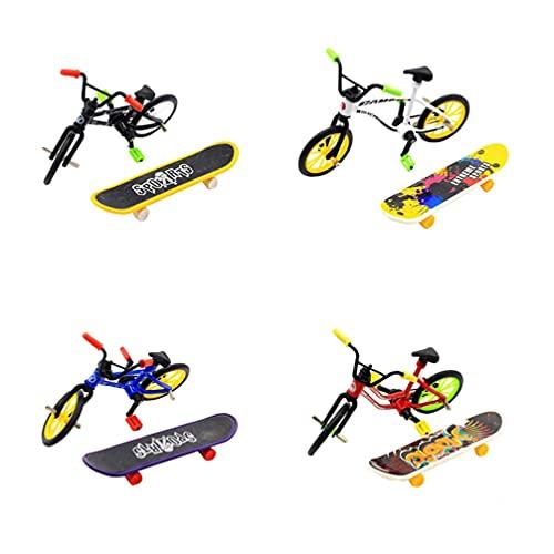 Kisangel Mini Juego de Juguetes de Dedo Miniatura Fingerboard Modelo de Bicicleta de Montaña Juguete de Decoración de Torta de Relleno de Bolsas para Niños de Color Aleatorio