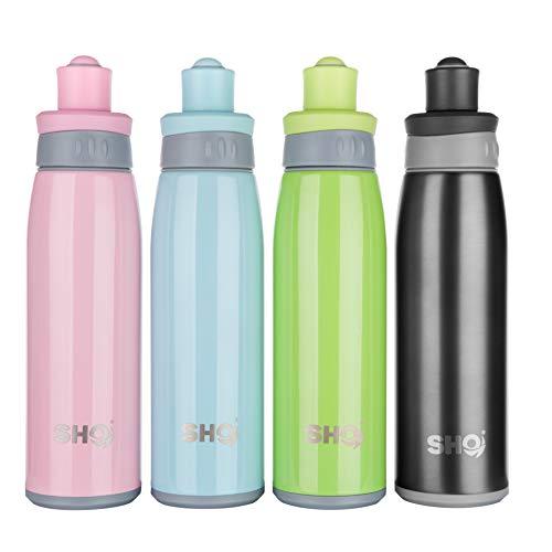 SHO Ihre Sportflasche Ultimative vakuumisolierte Edelstahl-Sportflasche & Wasserflasche – 12 Stunden kalt & 6 Stunden heiß (Babyblau, 500 ml)