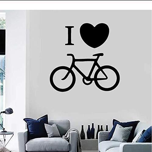 Amo Bicicleta Calcomanía De Pared Bicicleta Estática Bicicleta Vinilo Ventana Pegatina Jinete Dormitorio Estadio Decoración Interior Creativo Corazón Mural 57X57 Cm