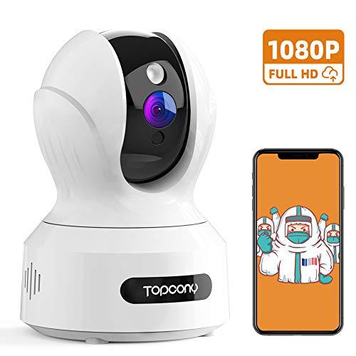 Topcony Caméra de Surveillance WiFi, 1080P Caméra IP Intérieur sans Fil, Caméra Sécurité FHD avec Détection de Mouvement et d'alerte, Audio Bidirectionnel, Vision Nocturne, Compatible avec Alexa
