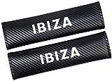 ZHNGG 2 Piezas Coche Almohadillas CinturóN De Seguridad para Seat Ibiza, Fibra De Carbono Seat Belt Padding Shoulder Protectora Pad, Auto Accesorios