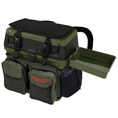 Sitzkiepe Angelbox Sitz- und Gerätekasten inklusive Vier Kunststoffboxen - Grün + 1 Futterwanne