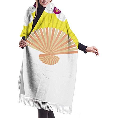 Womens Winter grote sjaal kasjmier sjaal gevoel Fancy gele hand ventilator witte orchideeën sjaal stijlvolle sjaal wraps zachte warme deken sjaal voor vrouwen 27x78 inch
