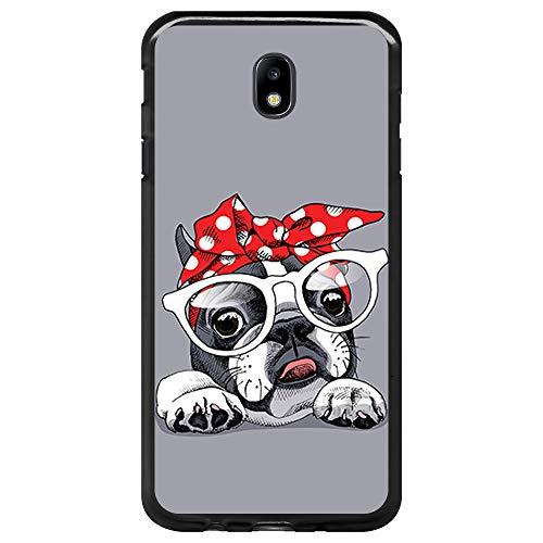 BJJ SHOP Funda Negra para [ Samsung Galaxy J5 2017 ], Carcasa de Silicona Flexible TPU, diseño: Bulldog Frances con Gafas y Lacito