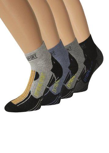 Chaussettes de randonnée pour chaussettes de randonnée courtes chaussettes chaussettes chaussettes d'extérieur Sport Jogging, 4 paires de chaussettes de randonnée Gris graumeliert 43-46