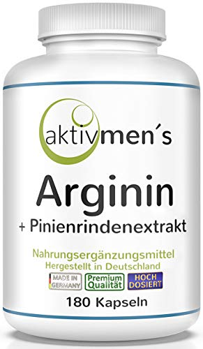 aktivmen´s Arginin plus Pinienrindenextrakt hochdosiert - 180 Kapseln - L-Arginin Base 3600 + Pinus pinaster Extrakt 100:1 (Seekiefer) | 1 Dose (1 x 135 g) 100% vegan + von Experten geprüft*