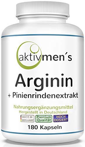 aktivmen´s Arginin plus Pinienrindenextrakt hochdosiert - 180 Kapseln - L-Arginin Base 3600 + Pinus pinaster Extrakt 100:1 (Seekiefer) | 1 Dose (1 x 135 g) 100{b0a77e3f4ceedbc6f7071752ff6a83935cf39119b916026411235e7a2cac85d9} vegan + von Experten geprüft*