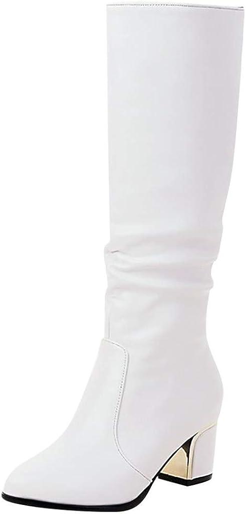 Women's GOGO Heel Boot-RQWEIN Women's Over The Knee Block Heel Zipper Boot Low Hidden Wedge Boots (Wide-Calf)
