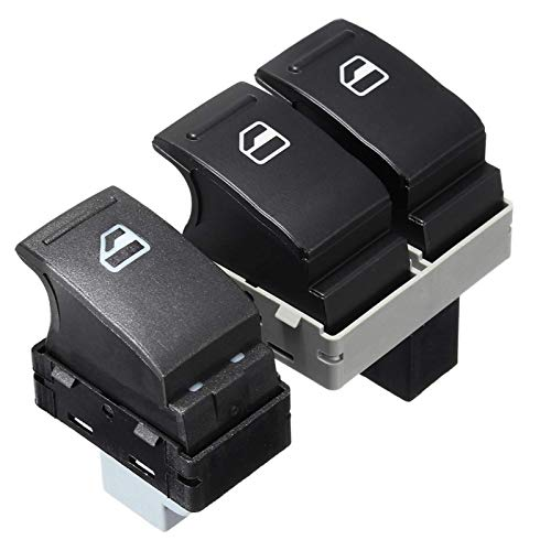 GFDGDS 2 interruptores eléctricos de la ventana del coche del pasajero + lado del conductor 7E0959855A 7E0959855 para VW TRANSPORTER T5 2005-2009 T6 2009-2014