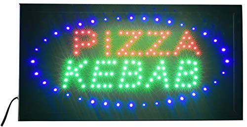 Letrero luminoso LED con texto – Pizza Kebab 48 x 25 x 2 cm con LED azul intermitente [Clase energética A]