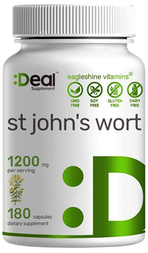 St. John's Wort 1200mg, 180 Capsules, Standardized to 0.3% Hypericins, Supports Sunny Mood, Clear Mind & Depression - Premium St Johns Wort Supplement