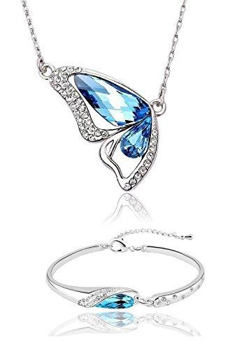 SataanReaper Presents Collar De Mariposa De Cristal Azul Plateado De Oro Blanco 18K con La Pulsera Juego De Joyas para Las Mujeres#SR-4145
