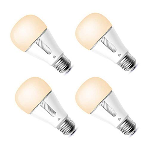 Kasa Smart Light Bulbs that works with Alexa and Google Home, Dimmable Smart LED Bulb, A19, 9W, 800Lumens, Soft White(2700K), CRI≥90, WiFi 2.4Ghz only, No Hub Required, 4-Pack(KL110P4)
