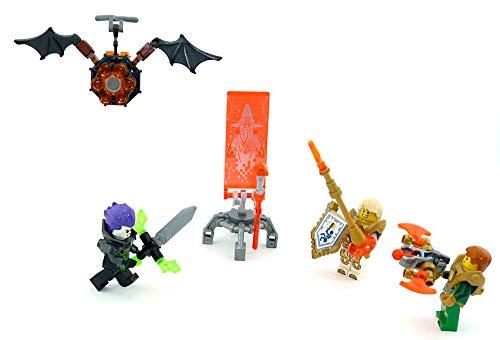 LEGO Nexo Knights Figuren. Merlok 2.0, Fred, Lance, Aaron und der Fledermausflitzer