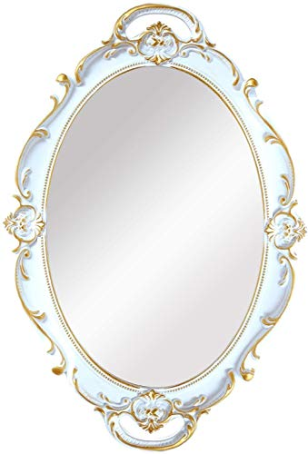 yvyuan Decorative Wall Mirror, Vintage Carved Hanging Mirrors for Bedroom LivingRoom Dresser Decor, Oval Antique White, (Color : White)