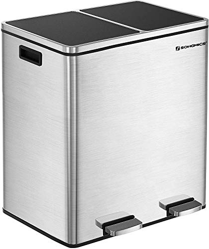SONGMICS 16 Gallon Step Trash Can, Double Recycle Pedal Bin