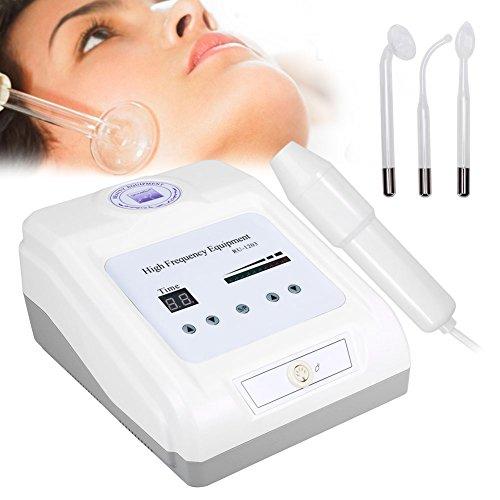 HF Varilla de alta frecuencia dispositivo facial, electroatía instrumento de cuidado facial Beauty Tool con 3 tipos de electrodos accesorios para el tratamiento de inflamación y acné