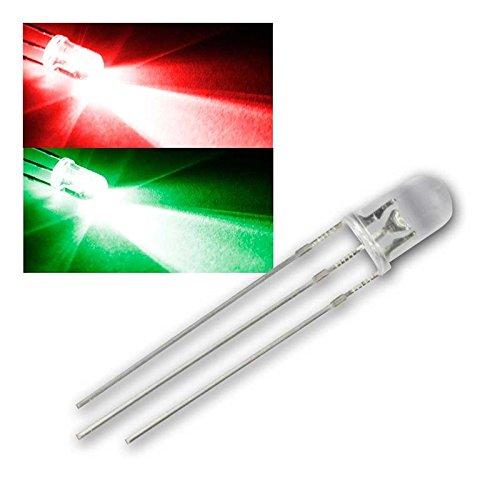 world-trading-net 10 LED 5mm wasserklar Rot/Pur-Grün 2-farbig, 3-Pin, Leuchtdiode, bedrahtet, Diode leuchtend, als Bauteil