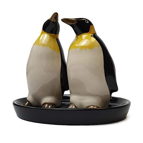 Windpaard Pinguïns Zout en Peper Potten Inc Schaal, Handgeschilderd Steengoed