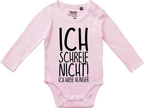 Kleckerliese Baby Body Vintage Sprüche Jungen Mädchen Langarm mit Motiv Ich Schreie Nicht! Ich Habe Hunger, LightPink,74
